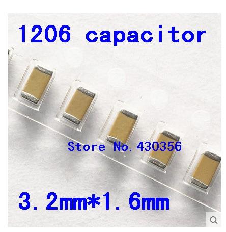 1206 SMD Capacitor 22nf 47nf 100nf 150nf 220nf 470nf 1uf 2.2uf 4.7uf 10uf  200pcs X7R