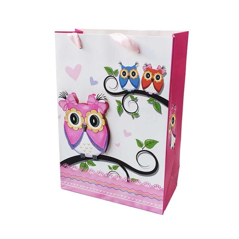 1 шт./партия, 18*25*8 см, бумажные сумки, многофункциональная сумка с ручкой из ленты, 3D сова, милые перерабатываемые экологически чистые подарочные пакеты