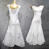 Rave White Ballroom Dresses Women Waltz Dress Lace Dress Sleeveless Female Standard Ballroom Dance Competition Dresses VDB503