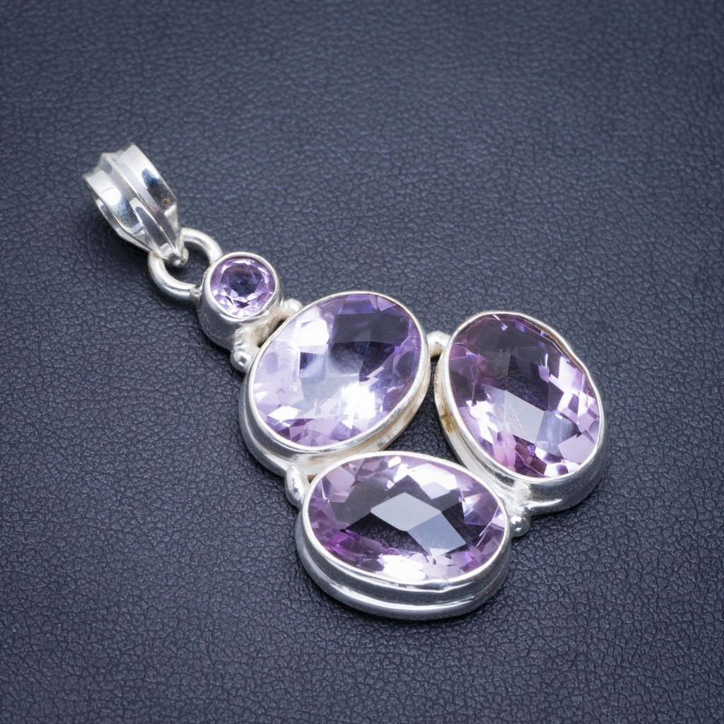 Natural Amethyst Handmade Unique 925 Sterling Silver Pendant 1.5 A1837Natural Amethyst Handmade Unique 925 Sterling Silver Pendant 1.5 A1837