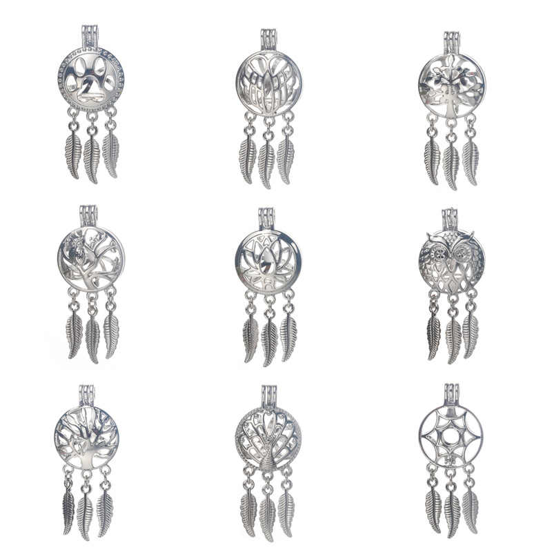 6pcs/lot Silver 20styles Dreamcatcher Pearl Cage Jewelry Making Bead Cage Pendant Essential Oil Diffuser Locket For Oyster Pearl