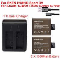 2x1050 Mah batería de Cámara de Acción deportiva para EKEN H9 H9R H3R H8PRO H8R pro SJCAM SJ4000 SJ5000 Sport mini DV batería + cargador
