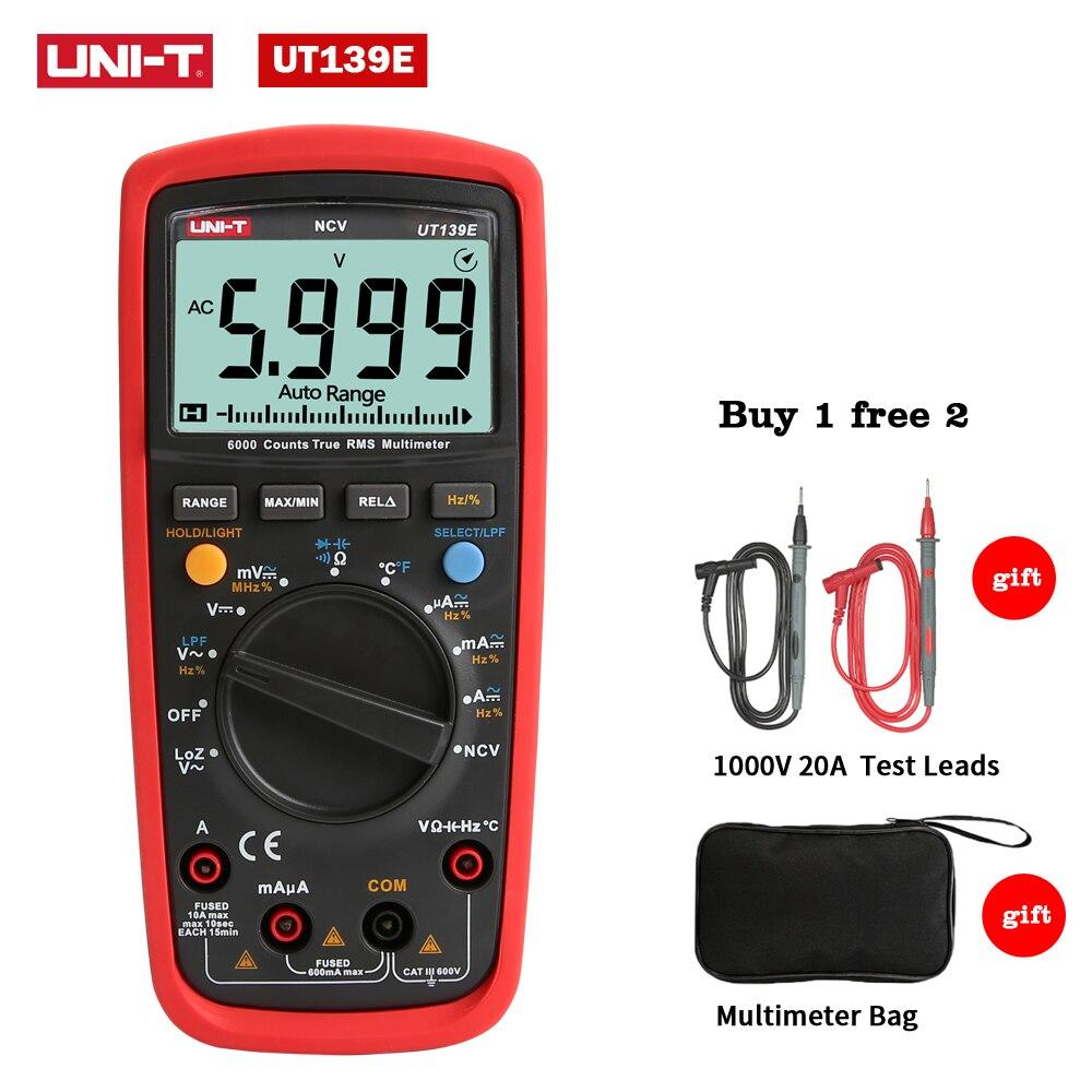 UNI-T UT139E Vrai RMS Multimètre Numérique Gamme Auto Température Sonde LPF filtre passe LoZ Faible Impédance D'entrée + Outils Sac UT139B