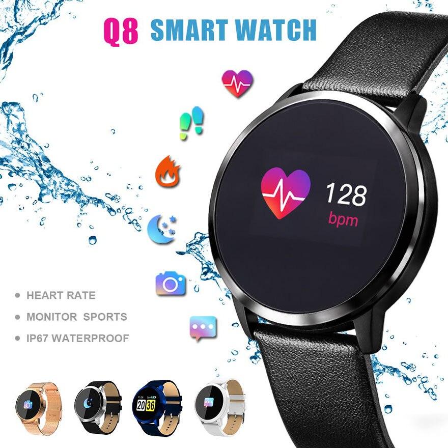 Q8 0.95 дюймов OLED Цвет Экран часы вызов напоминание крови Давление сердечного ритма Смарт часы для Android IOS IP67 Водонепроницаемый Q8 смарт часы