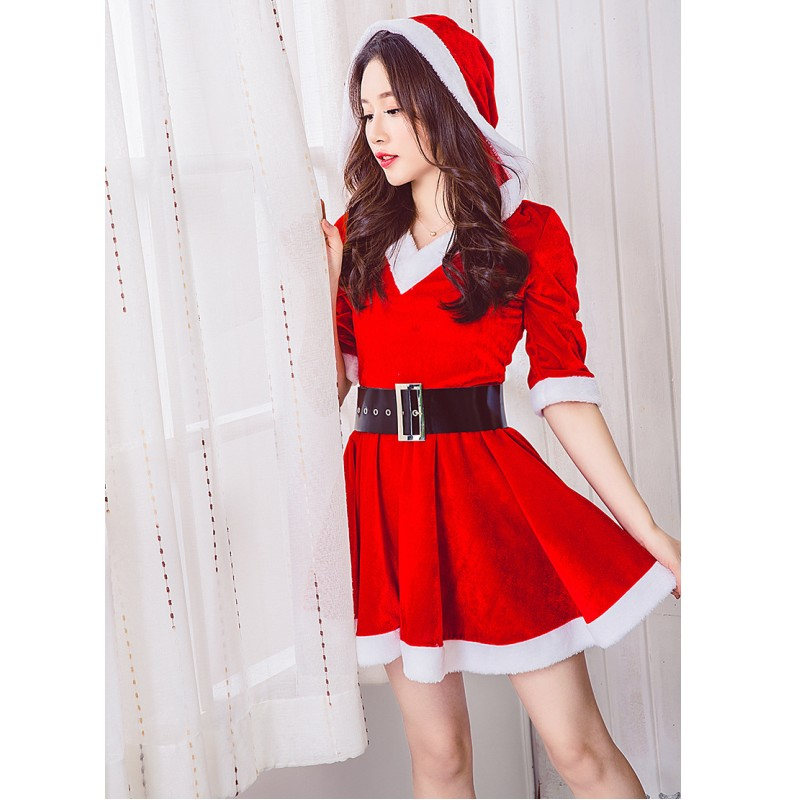 Green Red Velvet Christmas Dress Mini New Year Costume Cosplay Suit Stage Party Long Sleeve Hooded Dress With Belt No Boots Dresses Aliexpress