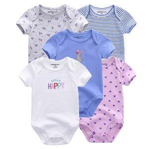 Image 5 - Monos unisex de manga corta para bebé recién nacido, mono con cuello redondo de 0 a 12M, ropa de bebé, conjuntos de ropa de bebé, lote de 5 unidades