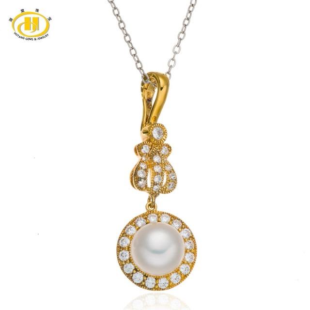 Água Doce da Pérola 925 Prata Esterlina Colar de Pingente de Música Hutang Fine Jewelry S925