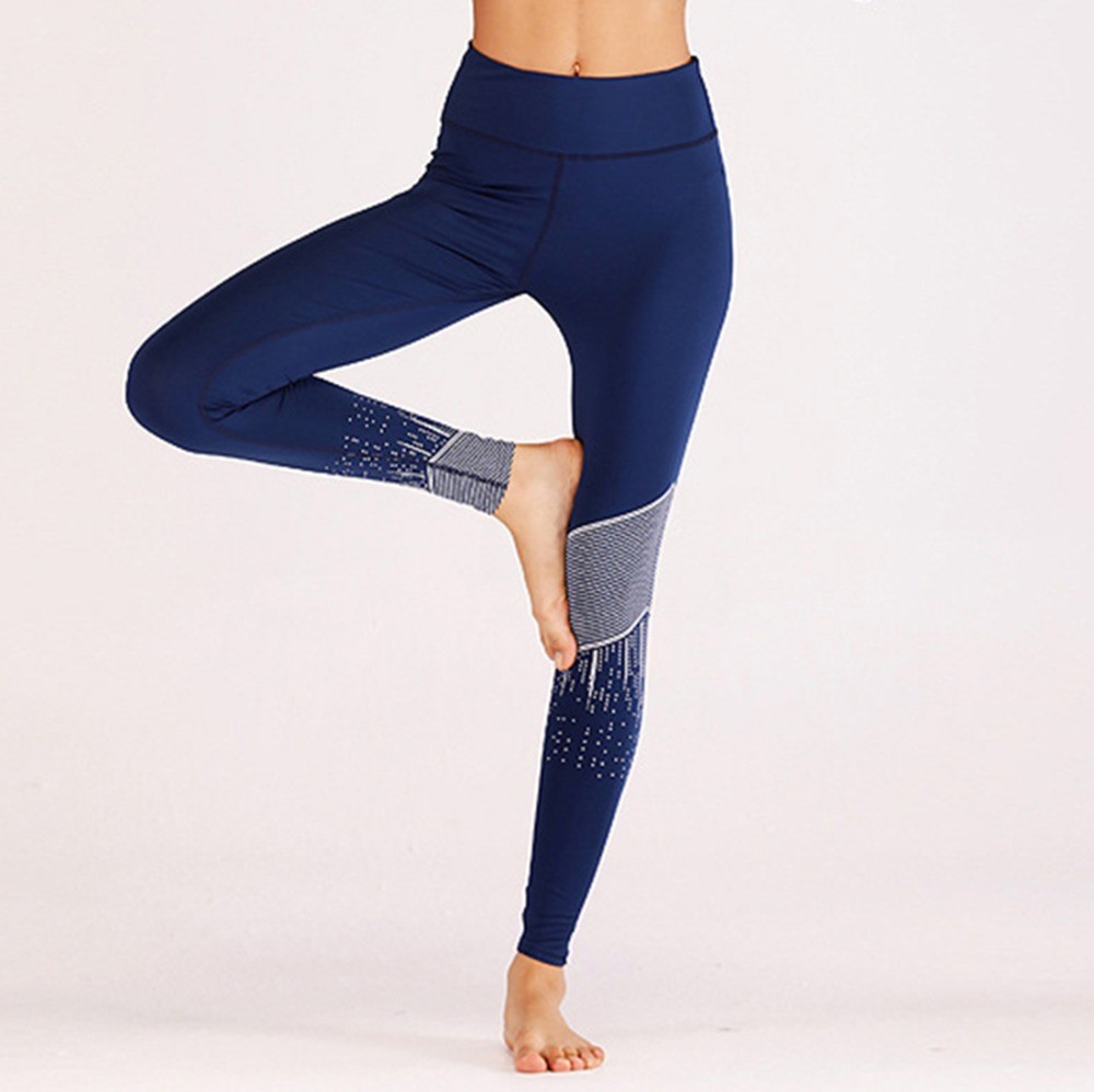 Casual 2018 Elastic Force Blue Sporting Leggings Digital Printed Breathable Leggings For Women