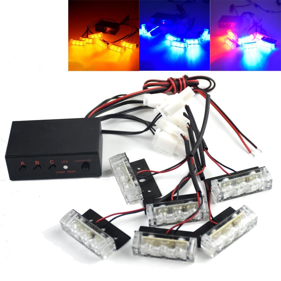 3 6 LED 18LED DC 12V Flash In The Net Car Flash Flash Warning Lights Flashing