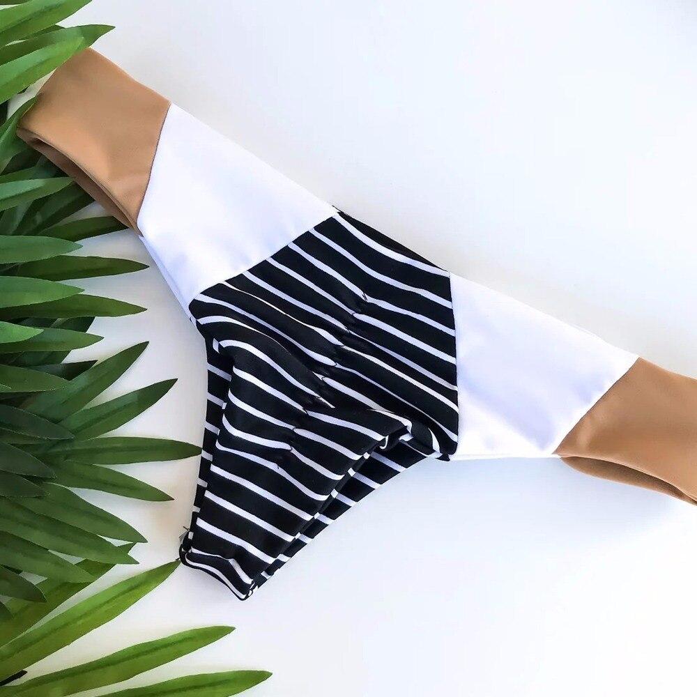 New Summer Beachwear Swimwear Women Bikini 2018 Sexy Black White Stripe Strapless Swimsuit Two Pieces Bathing Biquini Bikiny in Bikinis Set from Sports Entertainment