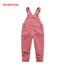 2 3 4 5 6 Years Kids Denim Jumpsuit 2018 New Fashion Children Overalls Jeans Bibi Pants Boys Girls Jeans Trousers Monos de ninos(China)