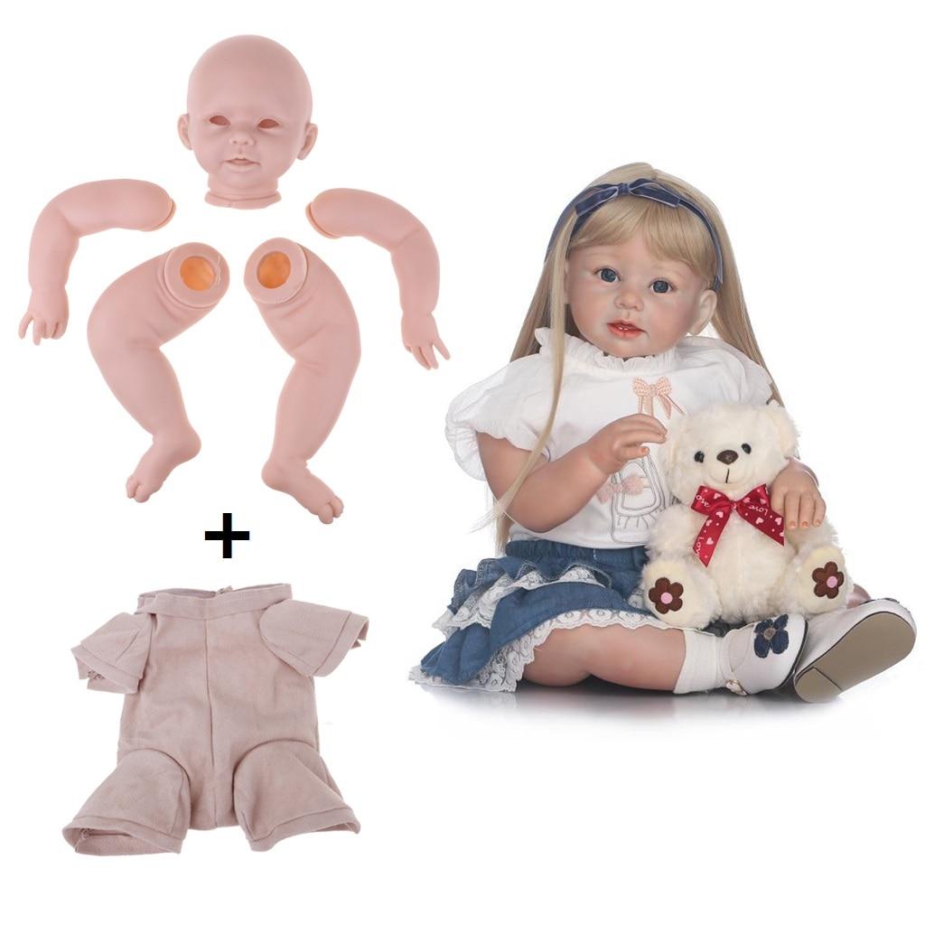 "4//4 Limbs Unpainted 28/"" Reborn Toddler Doll Kits Set Head Eyes Cloth Body"