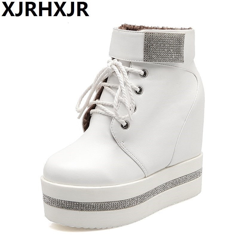 XJRHXJR 2018 Women Boots Wedge Concealed Heel High Top Platform Ankle Boots  Lace-Up Rhinestone Boots Shoes Size 35-39 Free Ship 3214979a6f31