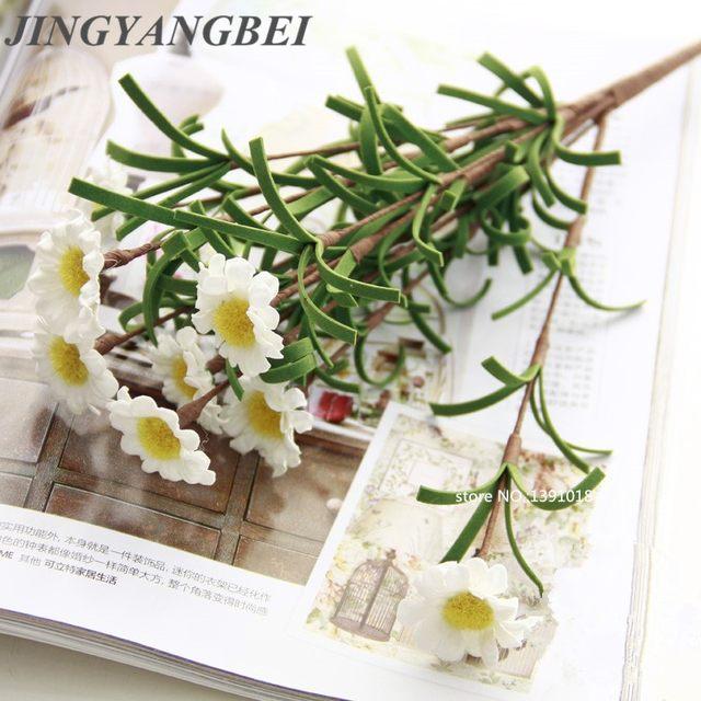 Pe Artificial Gerbera Daisy Flower Boupe Mini White Bouquet Wedding Party Home Decor