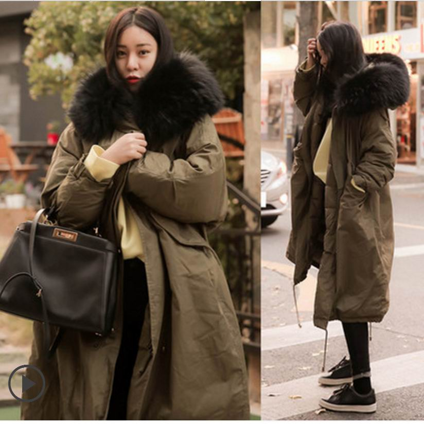 Winter outerwear Pregnantcotton-padded long large loose size fur collar thickening with a hood  jacket wadded jacket female linenall women parkas loose medium long slanting lapel wadded jacket outerwear female plus size vintage cotton padded jacket ym