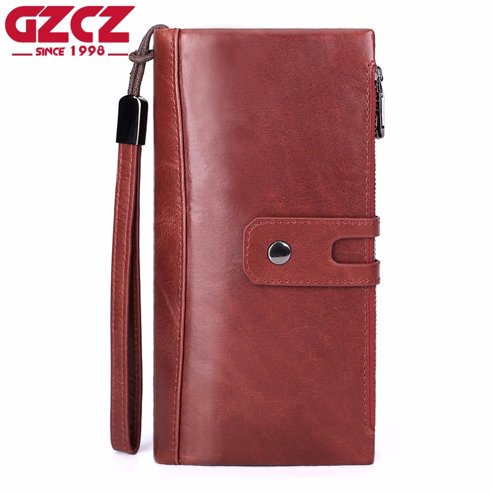 GZCZ Women Wallets And Purses Genuine Leather Long Walet Zipper Design Luxury Brand Money Bag Large Capacity Coin Phone Holder