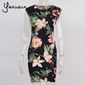 Yanueun 2017 Summer Women Elegant Vintage Floral Flower Print Dress Cap Sleeve Summer Casual Party Pencil Sheath Bodycon Dresses