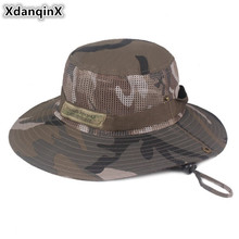 XdanqinX 2019 Summer New Style Camouflage Visor Hat Adult Mens Bucket Hats Wide Large Sun Mesh Breathable Caps For Men
