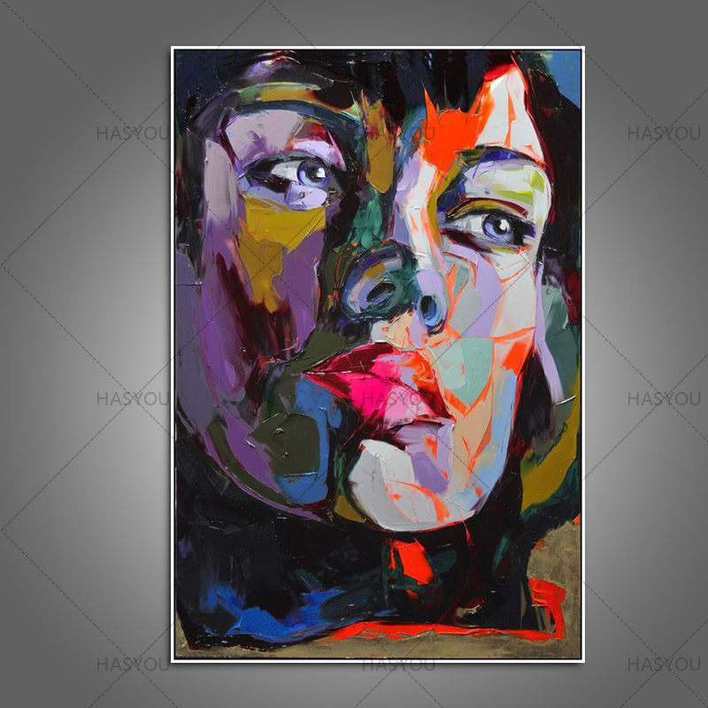 US $17 85 49% OFF|Top Artist Handmade High Quality modern colourful  Portrait Oil Painting Wall Painting Figure Face Paintings Home Decor no  frame-in