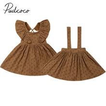 Коллекция года, летняя одежда для малышей Новое Детское платье в стиле ретро для маленьких девочек ТРАПЕЦИЕВИДНОЕ платье в горошек с оборками длиной до колена/комбинезон, платье, От 6 месяцев до 4 лет