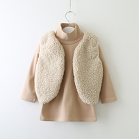 Children Fashion Clothing Set Kids Winter Wholesale Lots Bulk Clothes Toddler Girl Outfits Long Sleeve T Shirt And Fur Vest