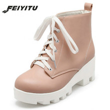 feiyitu Round Toe Motorcycle Boots Lace-Up Square High Heels Short Plush Solid Platform Ankle Boots Winter Women Shoes Pink lovely hello kitty round toe platform heels sweet princess lolita cosplay lace up winter boots