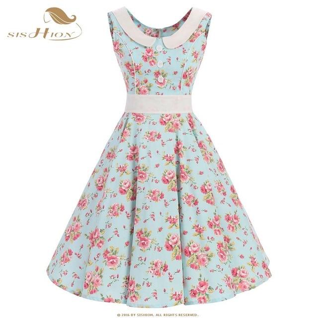 852b430a71b8 SISHION Summer Floral Dress Sleeveless Tunic Vestidos Flower Print Mint  Green Casual Retro 50s Plus Size