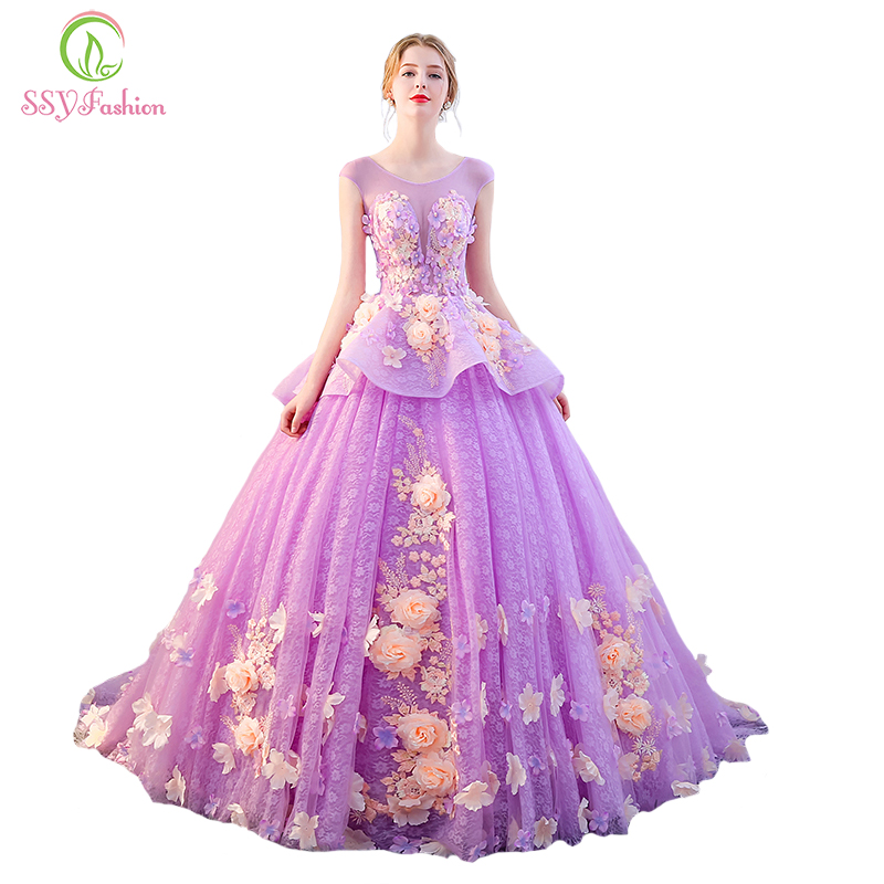 SSYFashion High end Luxury Colorful Prom Dress The Banquet Sweet Light Purple Flower Appliques Long Party