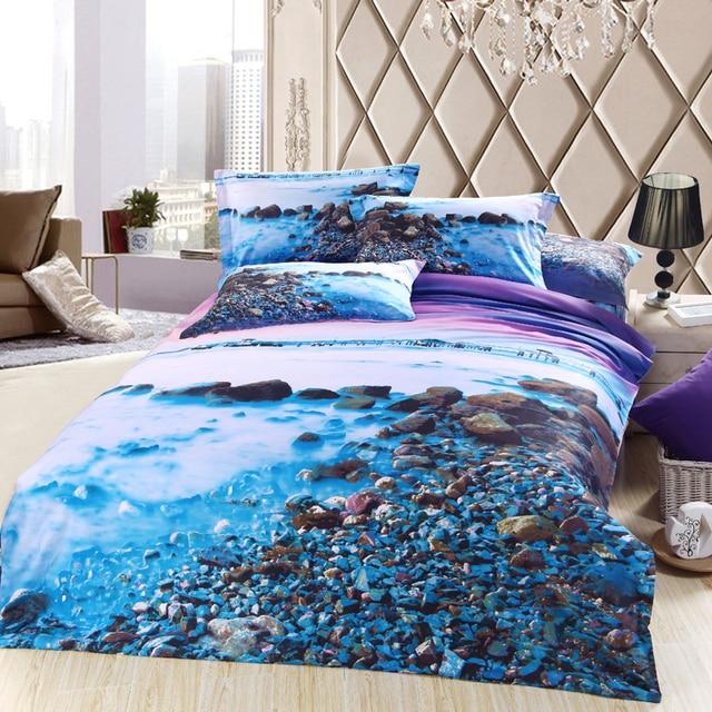 3D blue purple sea beach bedding sets queen size cotton
