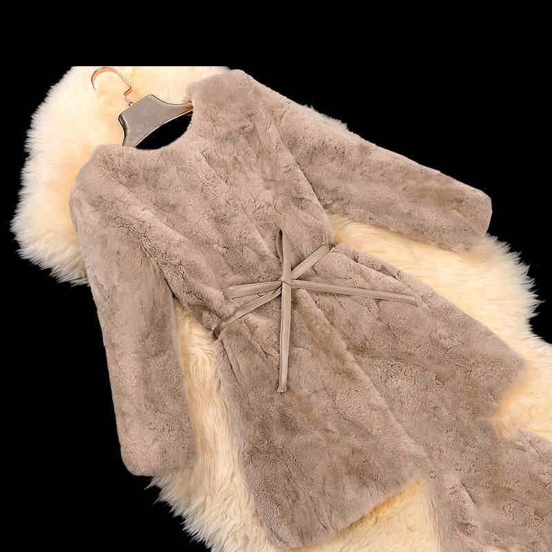Naturel 2018 Femelle Arrivée 1 Automne Nouvelle De 2 Manteaux Épais Véritable Cou Fourrure Chaud 3 Manteau Réel Femmes D'hiver 6 5 4 Lapin O Vestes Rex rwaAr