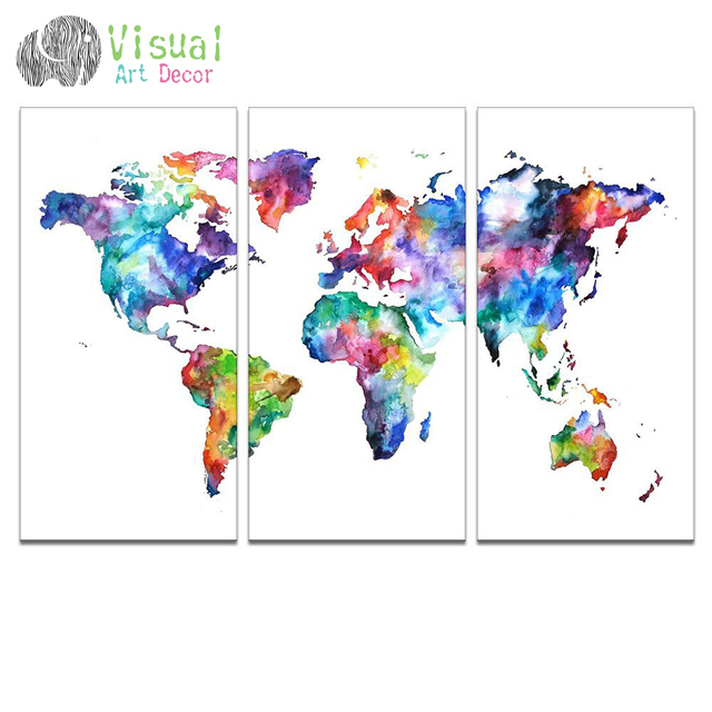 World map canvas art water color map poster printed on canvas 3 world map canvas art water color map poster printed on canvas 3 panel canvas art world gumiabroncs Image collections