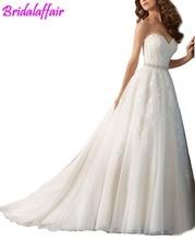 Sweetheart Beaded Lace A Line Wedding Dress with Detachable Bowknot vestido de noiva wedding dress 2018 gelinlik gown