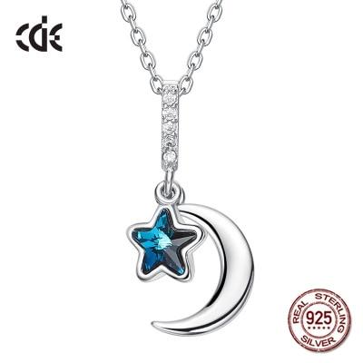 100% S925 Sterling Argent Autrichien Lune & Star Strass Cristaux de Swarovski Collier pour les Femmes Cadeau du Jour de Valentine