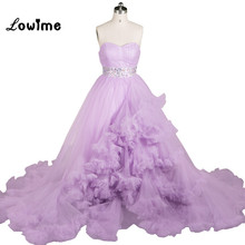 Winter Luxury Puffy Cloud Long Train Prom Dress