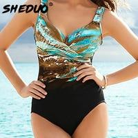 Sexy Women Swimwear Maillot De Bain Femme Biquini Print Plus Size One Piece Beach Wear Straped