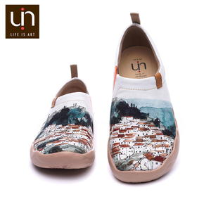 Image 2 - Uin um vermelho vival cidade arte pintada sapatos de lona para a mulher conforto deslizamento em mocassins casual sapatilha plana senhoras moda sapatos de caminhada