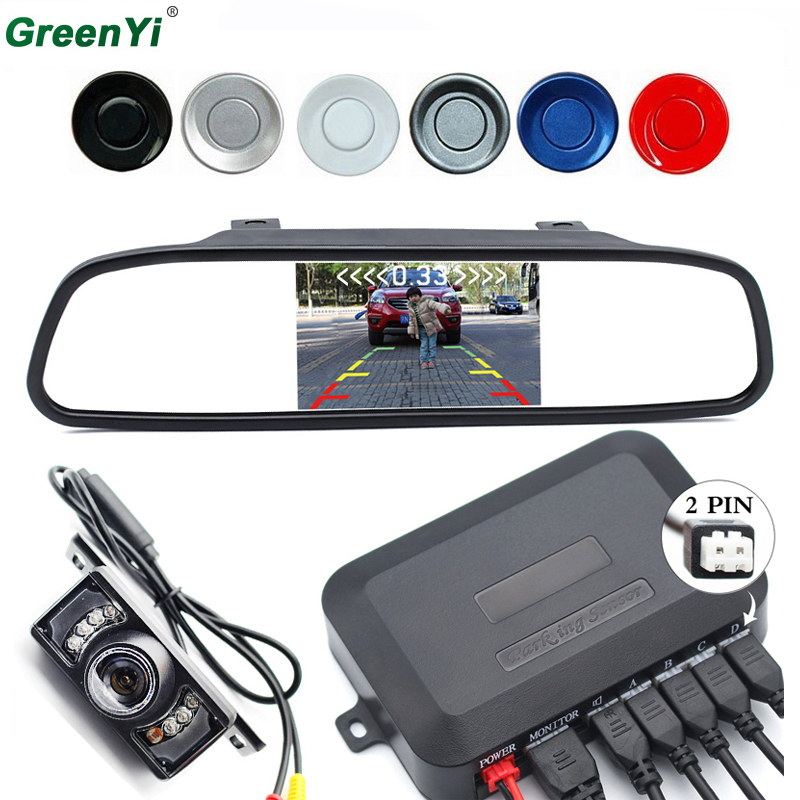 3in1 Car Accessories Parking Sensor 4.3 Inch TFT LCD Car Parking Monitor +Car Rearview Camera Reverse Radar System sinairyu 3in1 car parking assistance sensor reversing radar video all in one system connect car monitor and rearview camera