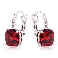 Wholesale Dazzling Elegant Red Garnet  Dangle Hook  Silver Earring Fashion Jewelry For Women Free Shipping