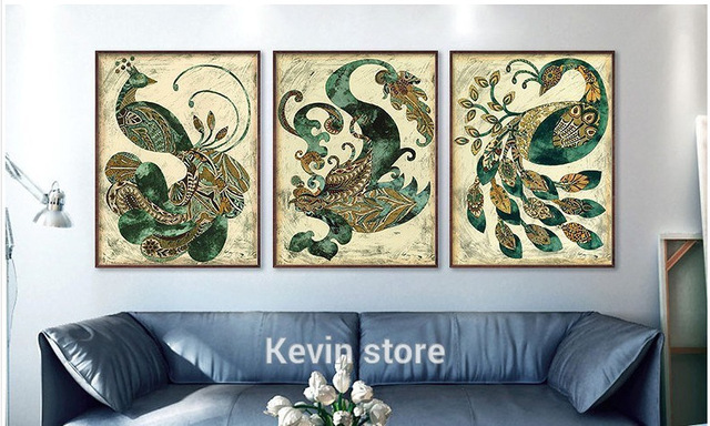 Hot Sale Abstract Peacock Spray Painting 3 Pieces Wall Art For Dining Room Decr On