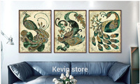 Hot Sale Abstract Peacock Spray Painting 3 Pieces Wall Art Painting For Dining Room Decr On