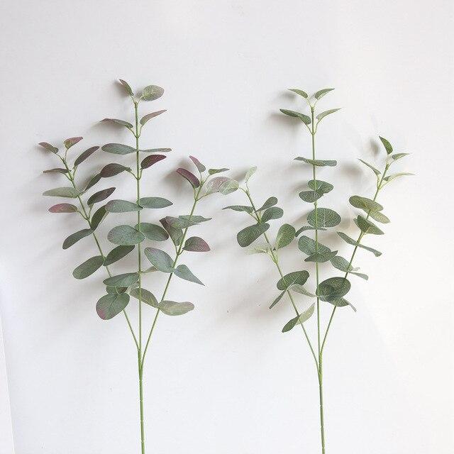 Зеленые искусственные листья большой Эвкалиптовый лист растения материал стены декоративные поддельные растения для домашнего магазина праздничный декор для сада 68 см