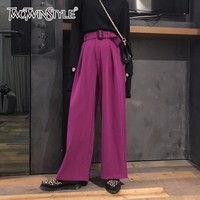 TWOTWINSTYLE Ruched Sashes Pant Female High Waist Large Size Spring Long Wide Leg Trouser For Women