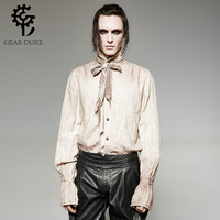 Steampunk Men's Tie Shirts Gothic Retro Causal Stand Up Collar Shirts Vintage Painting Breathable Linen Shabby Fold Shirt