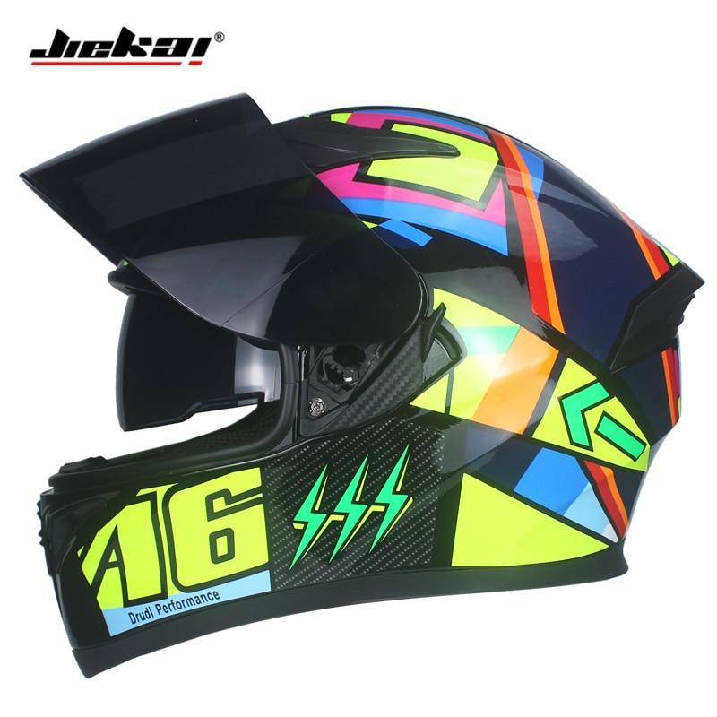 все цены на New Arrival JIEKAI Motorcycle Helmet Fashion Design Full Face Racing Helmet DOT Approved Capacete Casco Casque Moto Dual Lens