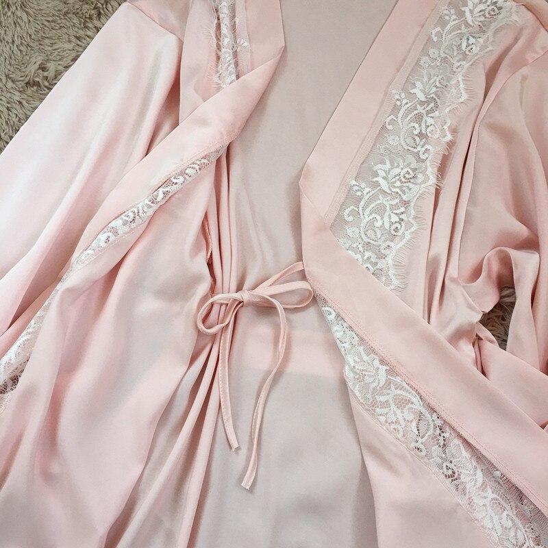 72b93c7c7cfbf Fiklyc marque sexy femmes dentelle satin pyjamas ensembles avec peignoirs  2019 trois pièces femme vêtements de nuit ensemble haute qualité tentation  dans ...