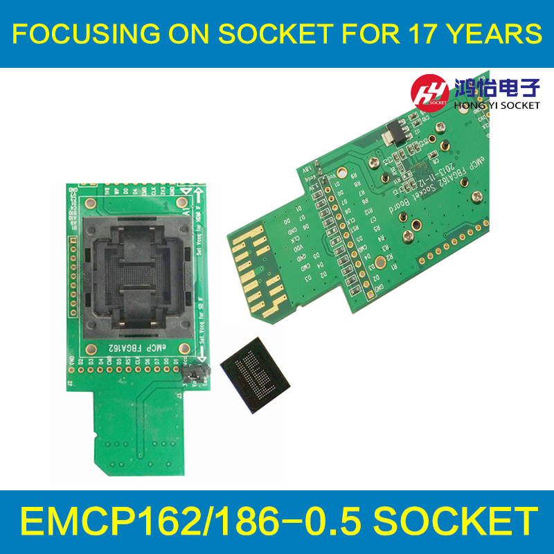 eMCP reader test socket with SD interface BGA162 BGA186 size11.5x13mm pitch 0.5mm programmer adapter for data recovery open top