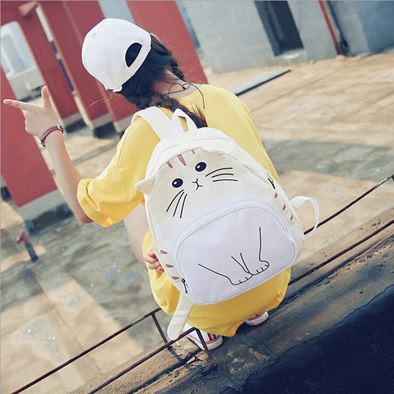 2018 cartoon cat fashion women backpacks new preppy style casual school bags canvas back pack cute Funny print girls backpack