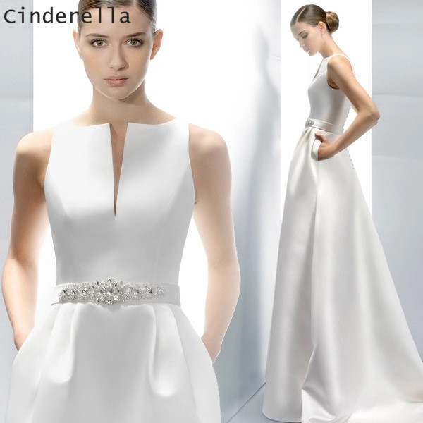 Cinderella Simple Style Scoop Sleeveless A Line Court Train Lace Up Satin Wedding Dresses Hand Made