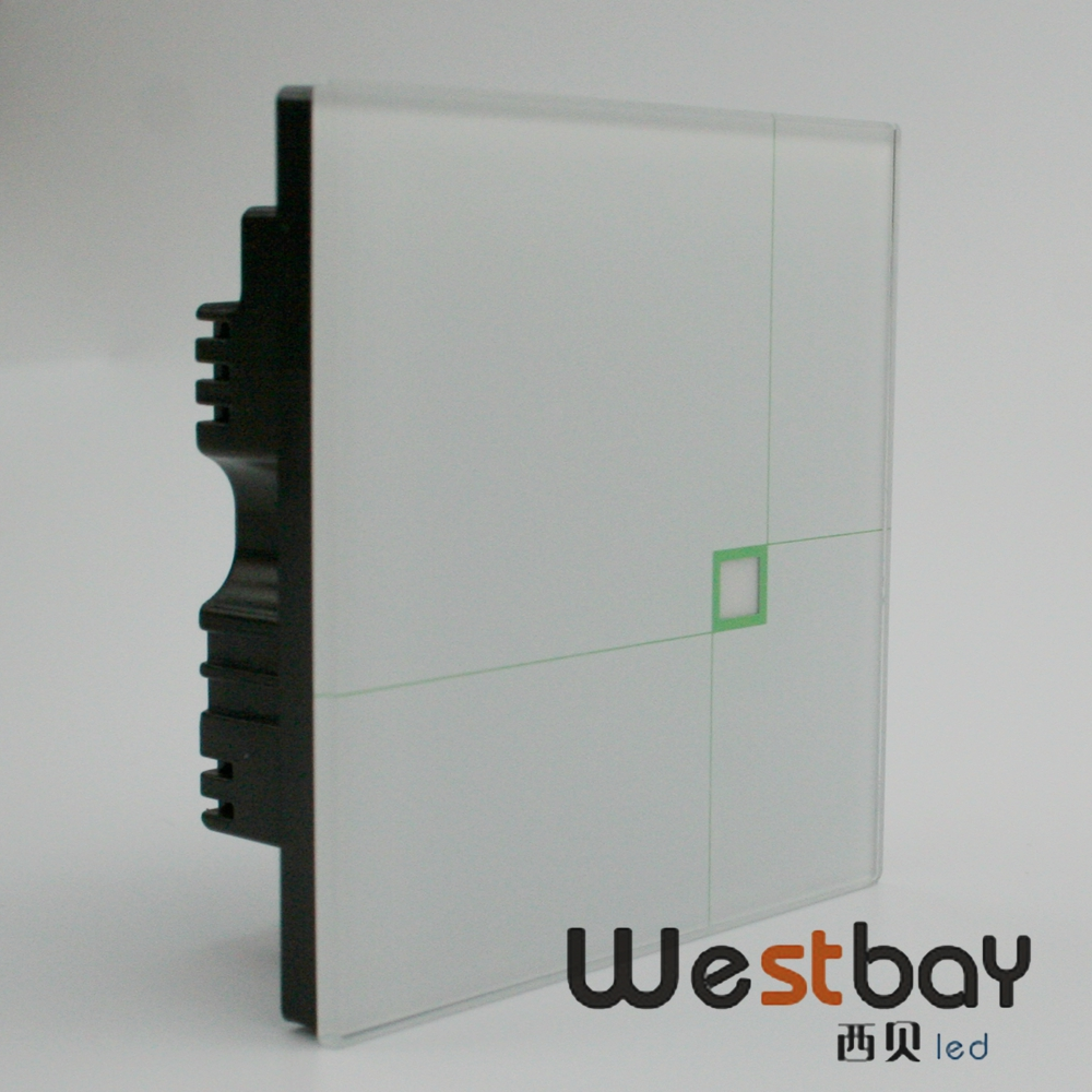 New free shipping 1gang 2way AC100-250V glass panel power switch, luxury design touching switch