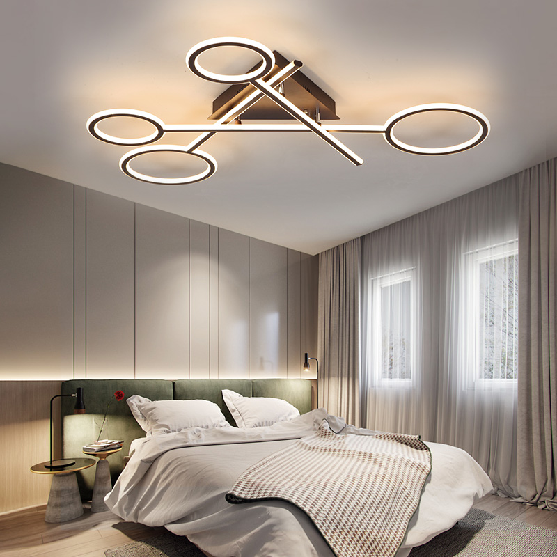 Modern Led Chandelier in White or Coffe Finish 85-265V Home Deco Ceiling Chandelier Lamp Fixtures For Living Room Master Bedroom led gold deco chandelier bulbs candle light e14 85 265v 5w lamps